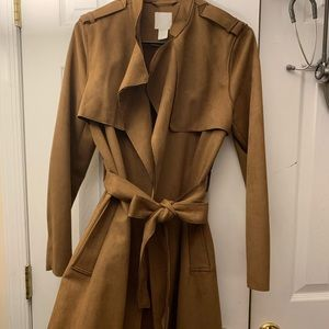 Suede like trench coat